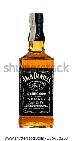 VARNA,BULGARIA-MARCH 02.2014: Photo of a botle of Jack Daniels.Jack Daniel's is a brand of sour mash Tennessee whiskey that is the highest selling American whiskey in the world.