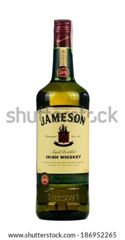 VARNA; BULGARIA-MARCH 02.2014: Photo of a botle of Jameson  irish whiskey.Jameson is a blended Irish whiskey produced by the Irish Distillers subsidiary of Pernod Ricard.