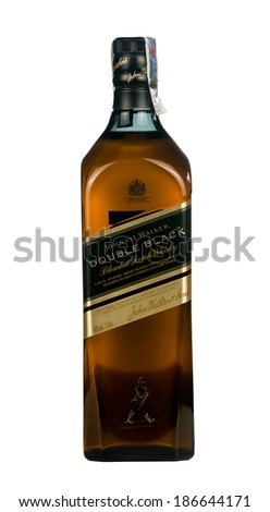 "VARNA,BULGARIA-MARCH 02.2014:Photo of a botle of""Johnie Walker""Double Black whiskey .Johnnie Walker is  owned by Diageo,It is the most widely distributed brand of blended Scotch whisky in the world."