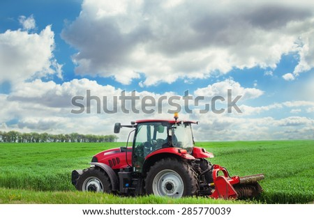 Varna, Bulgaria - MAY 06, 2015: Case IH Puma 140 agricultural tractor on display. Case IH wins two gold medals at AGROTECH - the 20th International Fair of Agricultural Techniques. - stock photo