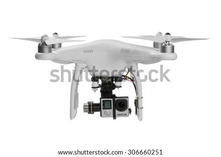 Varna, Bulgaria - MAY 28 ,2015: Flying drone quadcopter Dji Phantom 2 with digital camera GoPro HERO4 isolated on white - stock photo