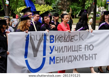 VARNA, BULGARIA MAY 24, 2015: May 24 is The Saints Cyril and Methodius Day. People celebrate Bulgarian culture and literature as well as the Cyrillic alphabet on the streets of Varna, Bulgaria.