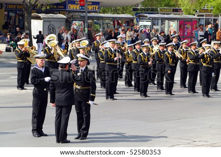 VARNA, BULGARIA - MAY 6: Military parade in Varna, Bulgaria celebrating May 6, the Day of Saint George the Victorious, and the Day of the Bulgarian Army. May 6, 2010 in Varna, Bulgaria