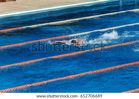 VARNA, BULGARIA   May 29, 2017: Public Sports Swimming Pool Open. Lines