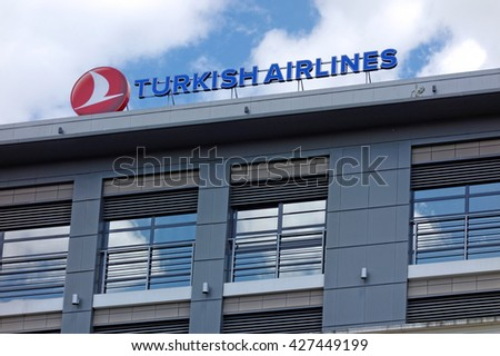 """VARNA, BULGARIA - MAY 15, 2016: The logo of the brand """"Turkish Airlines"""", headquarters: Istanbul, Turkey, established: May 20, 1933; - stock photo"""