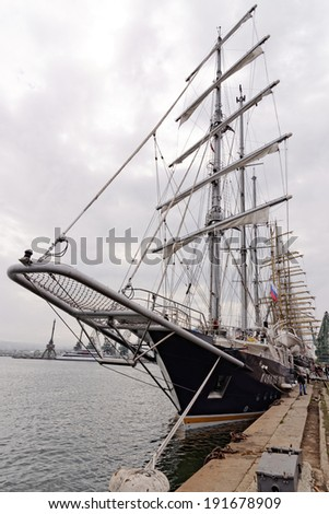 "VARNA, BULGARIA - MAY 01, 2014: Town of Varna is a host of the SCF Black Sea Tall Ships Regatta - 2014. The Barquentine ""Running on waves"" is one of the ships to participate in the event."