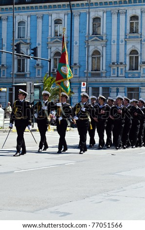 VARNA, BULGARIA - MAY 6: Unidentified parade participants march in a military parade on May 6, 2011 in Varna, Bulgaria. The parade is held to celebrate May 6, the Day of the Bulgarian Army.
