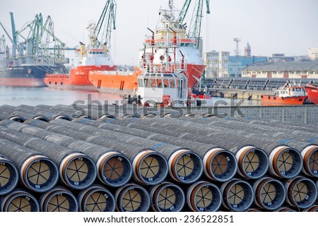 Varna, BULGARIA - November 29, 2014: Gas pipes of large diameter at Port of Varna ready for the South Stream - planned gas pipeline to transport Russian natural gas through the Black Sea to Europe. - stock photo