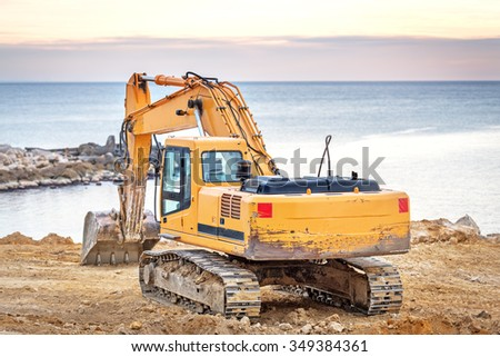 Varna, Bulgaria - 27 November, 2015: Hyundai Robex 210LC-9 Crawler Excavator on a field. The R210LC-9 has horizontal reach of 10,9 m and dregding depth of 7,7 m. - stock photo