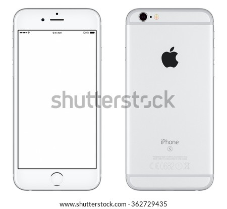 Varna, Bulgaria - October 24, 2015: Front view of Silver Apple iPhone 6S mockup with white screen and back side with Apple Inc logo. Isolated on white. - stock photo