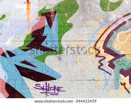 VARNA - 18 November: Detail of graffiti on a concrete wall Perspective. Grungy concrete surface with cracks, scratches and streaks of paint. November 18, 2015 in Varna, Bulgaria
