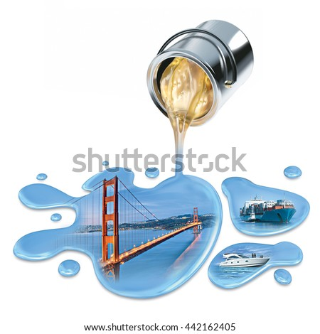 varnish can and sea water isolated - stock photo