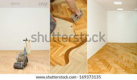 Varnishing of oak parquet floor in home or office - stock photo