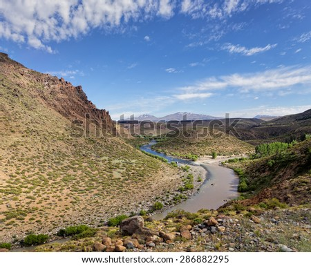 Varvarco River, Domuyo Provincial Park, Neuquen, Argentina - stock photo