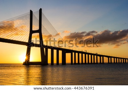 Vasco da Gama Bridge at sunrise, Lisbon, Portugal, Europe.