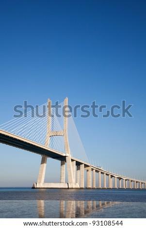 Vasco da Gama bridge in Lisbon - stock photo