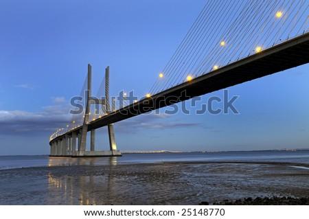 Vasco da Gama bridge in Lisbon Portugal - stock photo