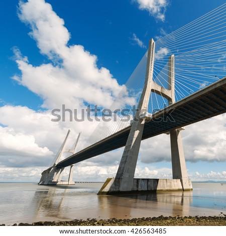 Vasco da Gama Bridge in Lisbon. Portugal - stock photo