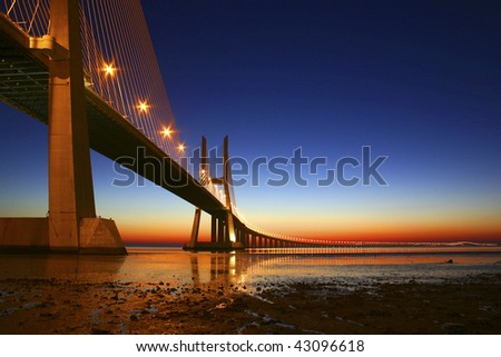 Vasco da Gama bridge in Lisbon, Portugal - stock photo