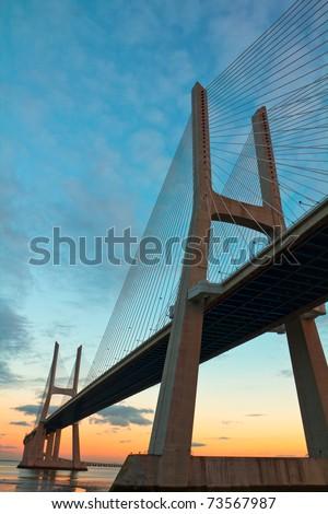 Vasco da Gama Bridge in Lisbon, Portugal - stock photo