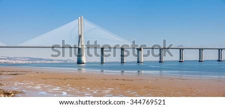Vasco de Gama Bridge in Lisbon, Portugal - stock photo