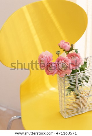 vase and flower at table in modern living room