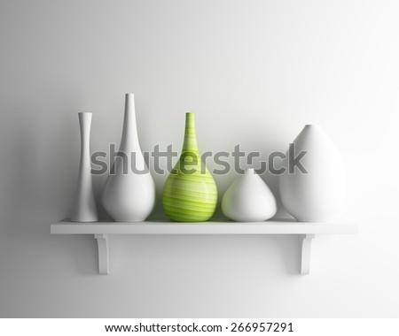 vase ceramic and white shelf - stock photo