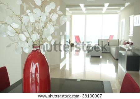 Vase in a modern condominium  Furniture provided by www.lignerosetmiami.com  - stock photo