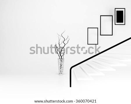 vase in the room, 3d rendering - stock photo