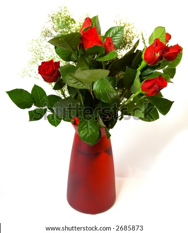 Vase of Red Roses - stock photo