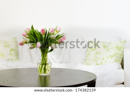 Living Room Vase vase red flowers modern white living stock photo 125803277