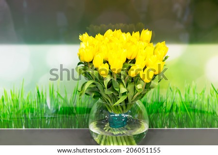 Vase of yellow tulips in modern  living room - stock photo
