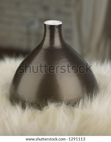 Vase on fur - stock photo