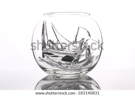vase with broken glass inside isolated on white