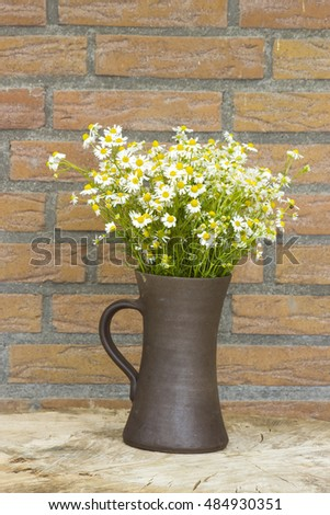 Vase with chamomile flowers