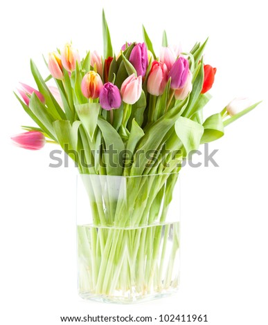 Vase with colorful tulips - stock photo