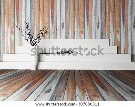 vase with the branches near the podium, 3d rendering - stock photo