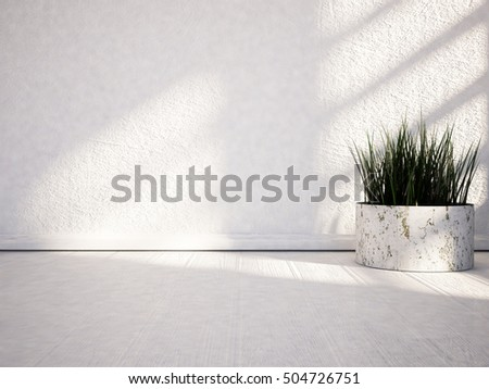 vase with the grass on the floor, 3d rendering