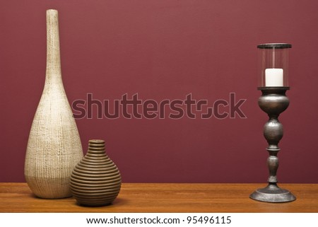 Vases and a candle holder - stock photo