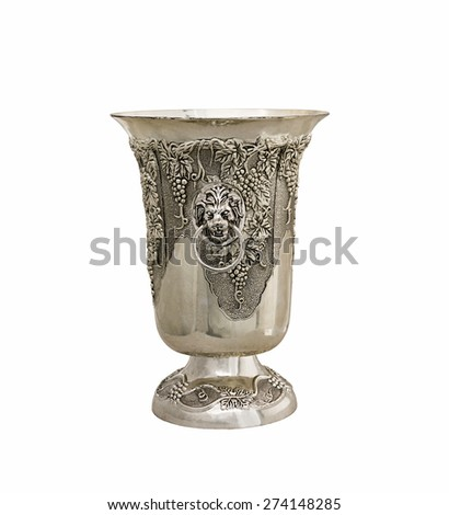vases from silver - stock photo