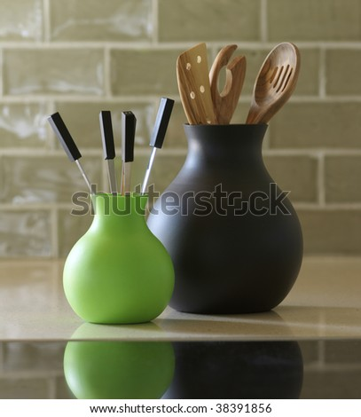 Vases of silicona in the kitchen(cuisine) - stock photo