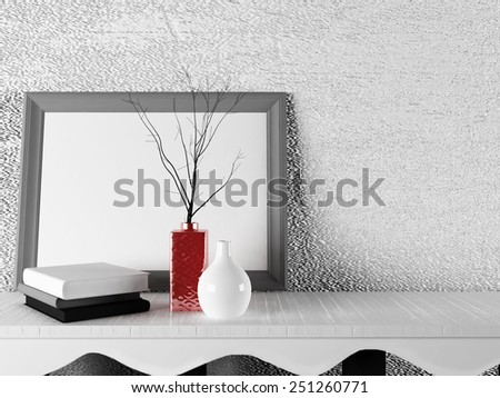 vases with the books near the picture, 3d rendering - stock photo