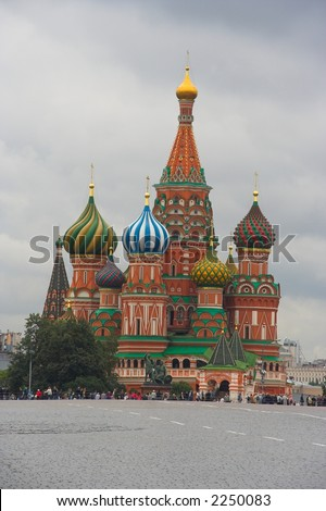 Vasily Blagenny Church, Red Square, Moskow - stock photo