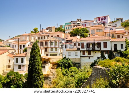 Vathi hill houses. Main town of Samos island - stock photo