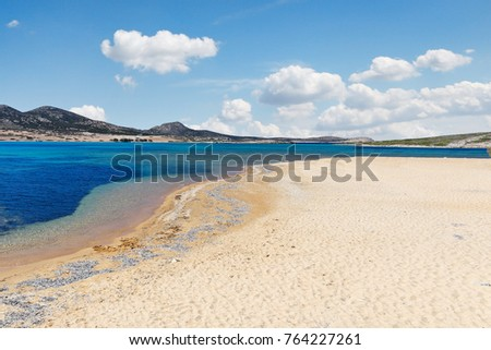 Vathis Volos beach of Antiparos island in Cyclades, Greece