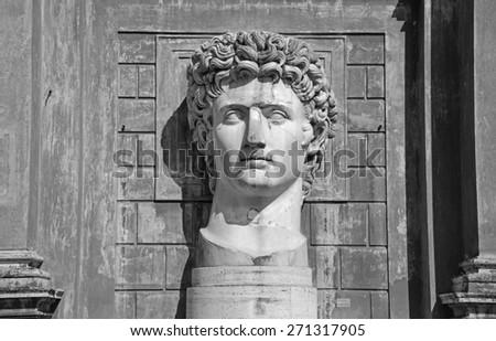 VATICAN - April 18: Statue of Gaius Julius Caesar Augustus at VaticanMuseums at April 18, 2015. - stock photo