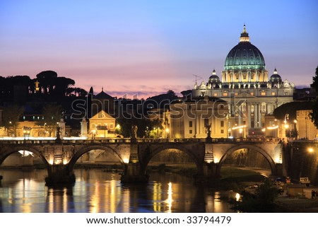 Vatican at dusk - stock photo