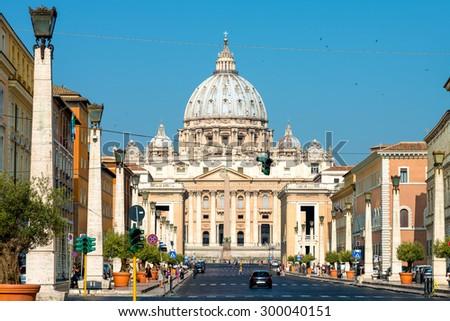 Vatican Basilica from Conciliazione Street - stock photo