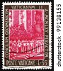 VATICAN - CIRCA 1966: A stamp printed in the Vatican shows Bishops Celebrating Mass, Vatican II Council, circa 1966 - stock photo