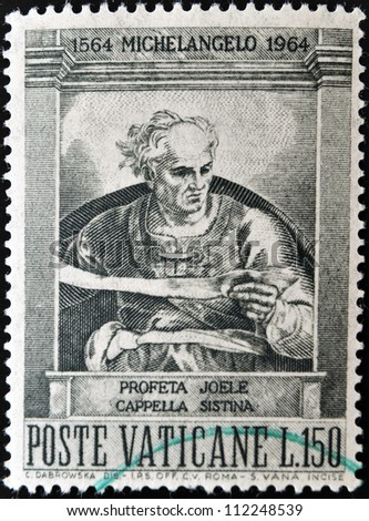 VATICAN - CIRCA 1964: A stamp printed in Vatican shows prophet Joel, painted in the Sistine Chapel by Michelangelo, circa 1964